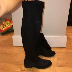 Black Suede Over The Knee Boot. Sz 6 1/2